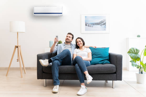 Happy couple cool down using air conditioning at home stock photo