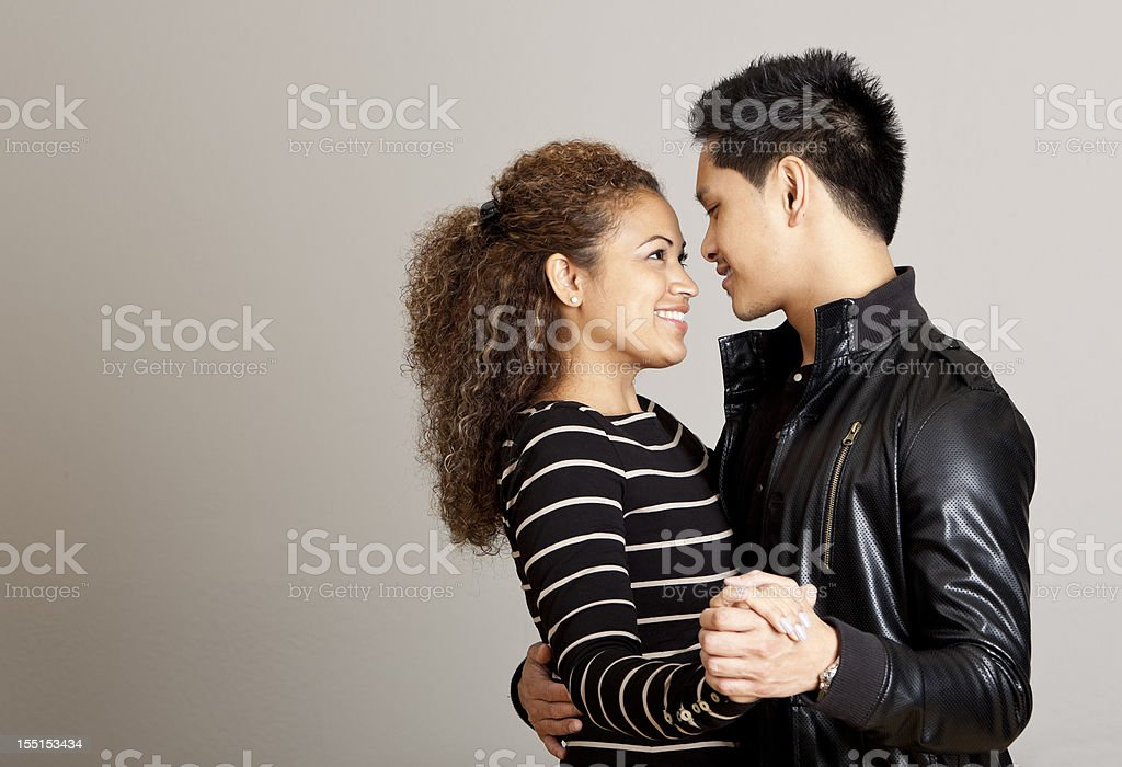 happy couple dancing closely - copy space stock photo