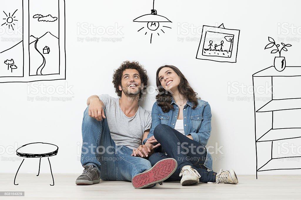 Happy Couple Dream New Home - Royalty-free 20'lerinde Stok görsel
