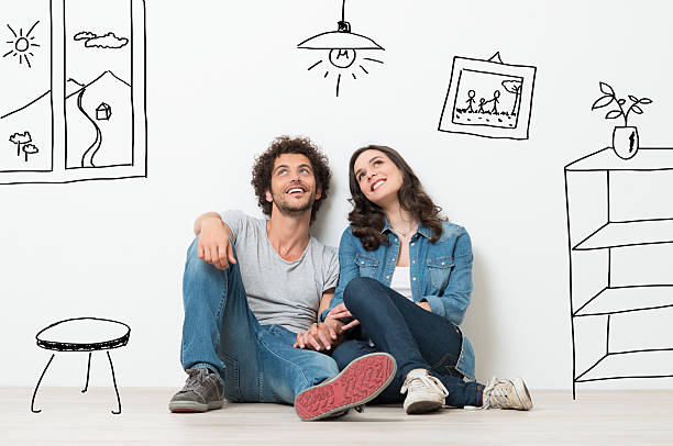 happy couple dream new home - dreamlike stock photos and pictures