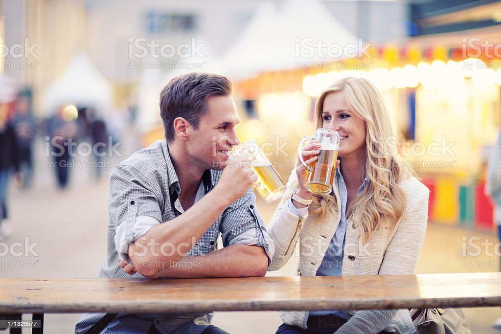 Happy Couple Drinking Beer royalty-free stock photo