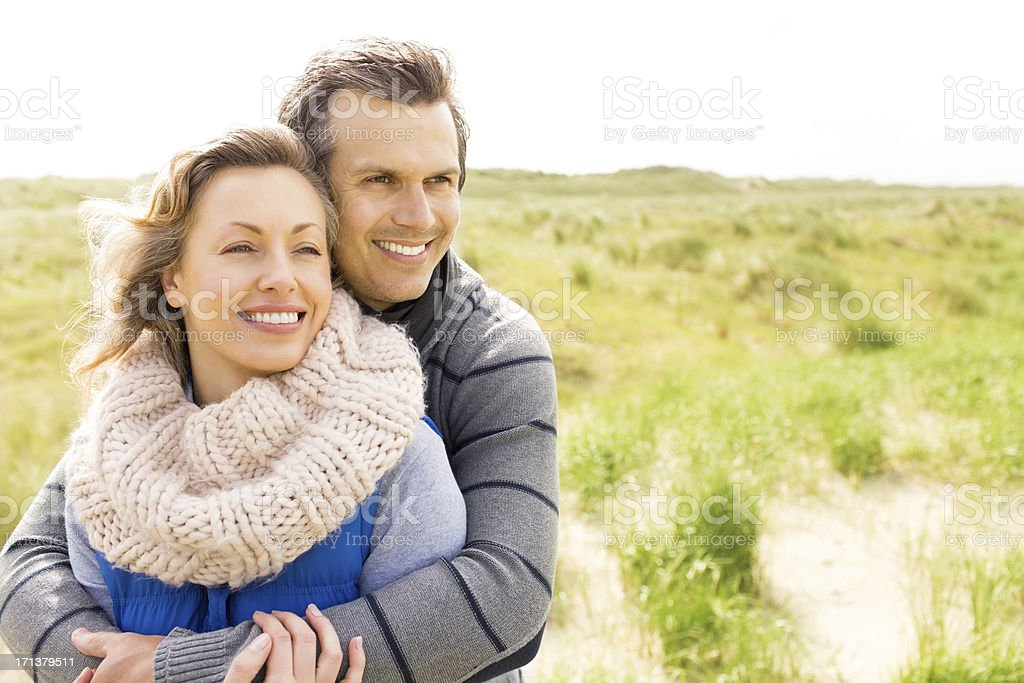 Happy Couple Embracing Each Other stock photo