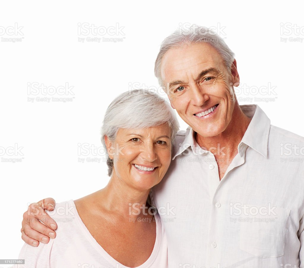 Happy Couple Embracing - Isolated royalty-free stock photo
