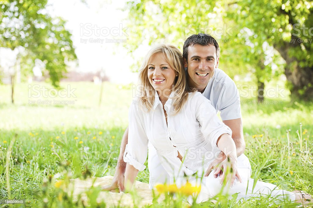 Happy couple enjoying in the nature. royalty-free stock photo