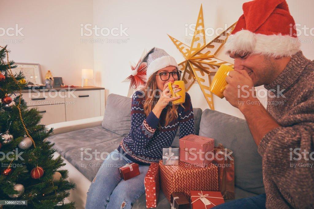 Happy couple enjoying New Year\'s / Christmas eve.