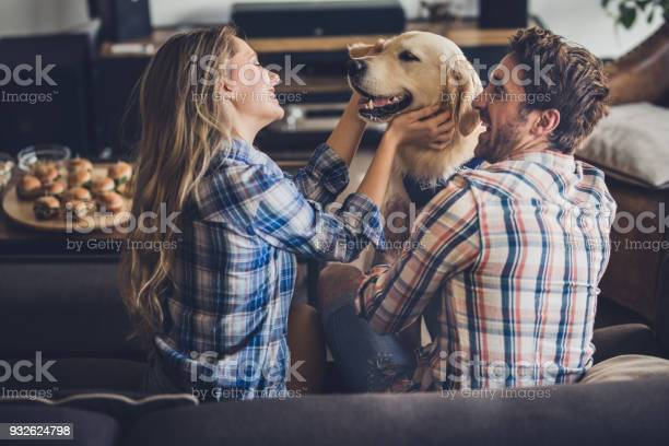Happy couple enjoying with their golden retriever in the living room picture id932624798?b=1&k=6&m=932624798&s=612x612&h=hhuarpleoe3tugvgn2fh64h6dfgvgp1deuzhf2ztchm=