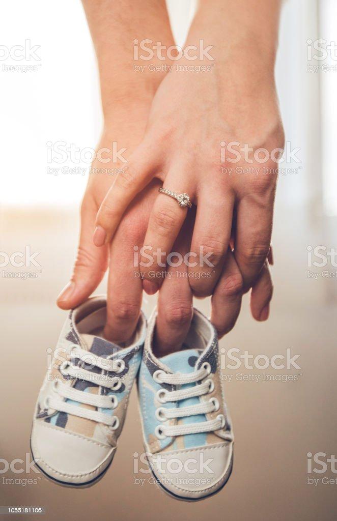 Happy couple expecting baby stock photo