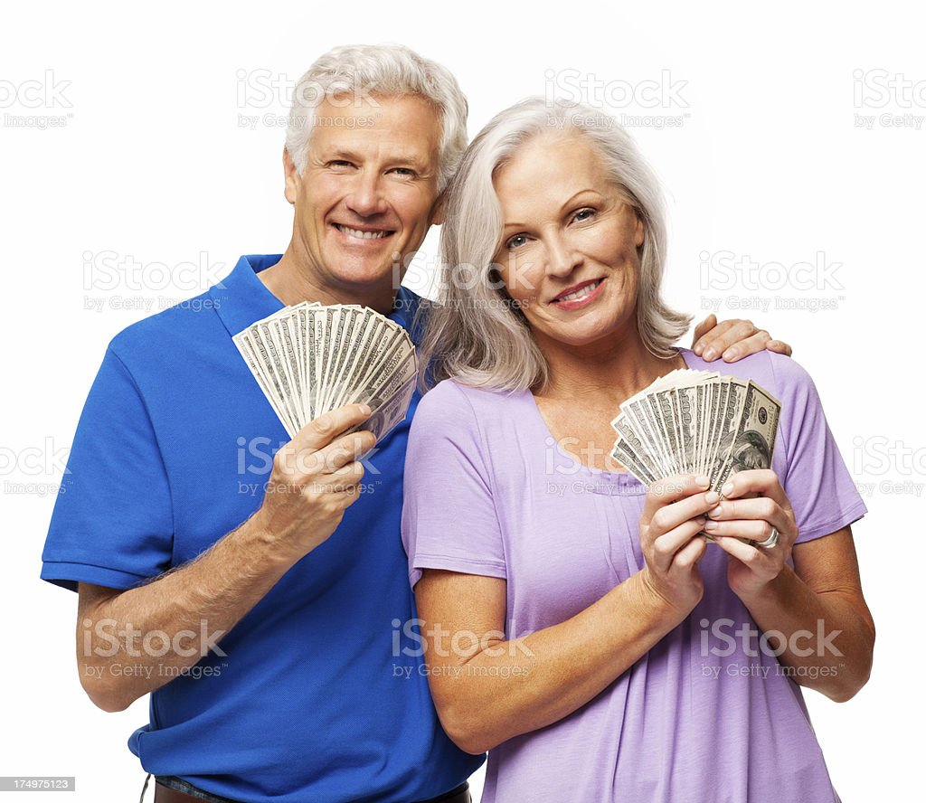 Happy Couple Fanning Out Cash - Isolated royalty-free stock photo