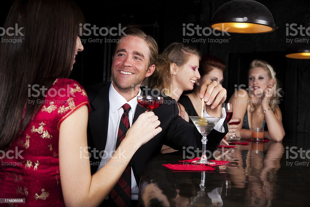 Happy Couple Flirting in Bar stock photo