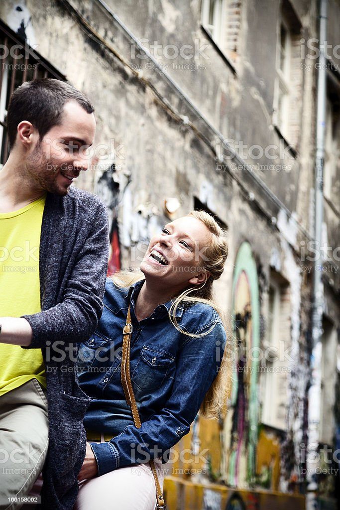 Happy Couple Fun on Bicycle royalty-free stock photo