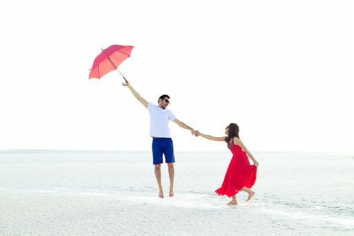 happy couple having fun on salt lake,