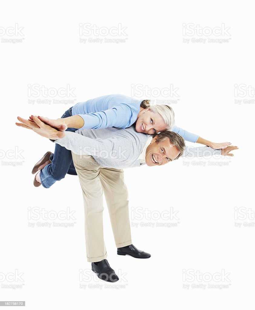 Happy couple having fun together on white royalty-free stock photo