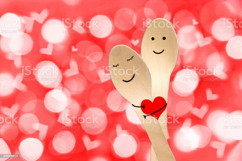 happy couple hug concept smiley painted on spoons stock photo more