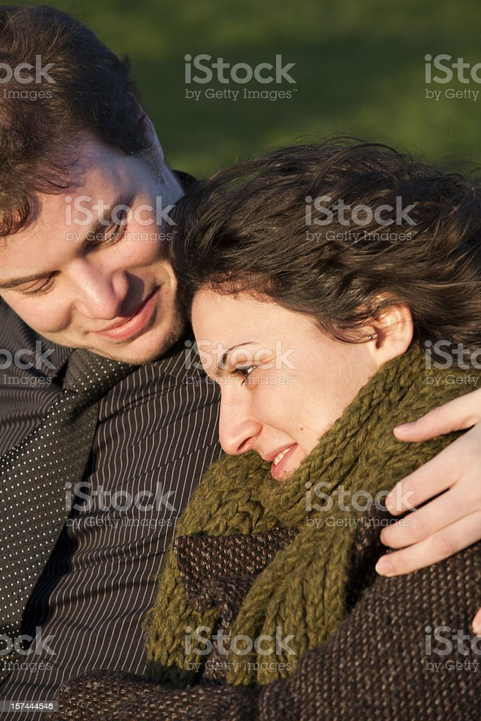 Happy couple hugging each other royalty-free stock photo