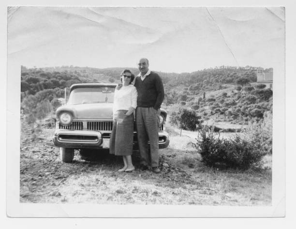 happy couple in 1950 with car - 1950s style stock photos and pictures