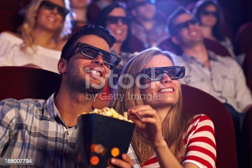 187095683 istock photo Happy couple in 3D movie 188007794