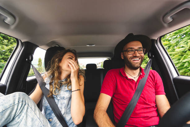 Happy Couple in a road trip stock photo