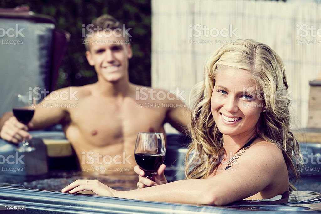 happy couple in a spa stock photo