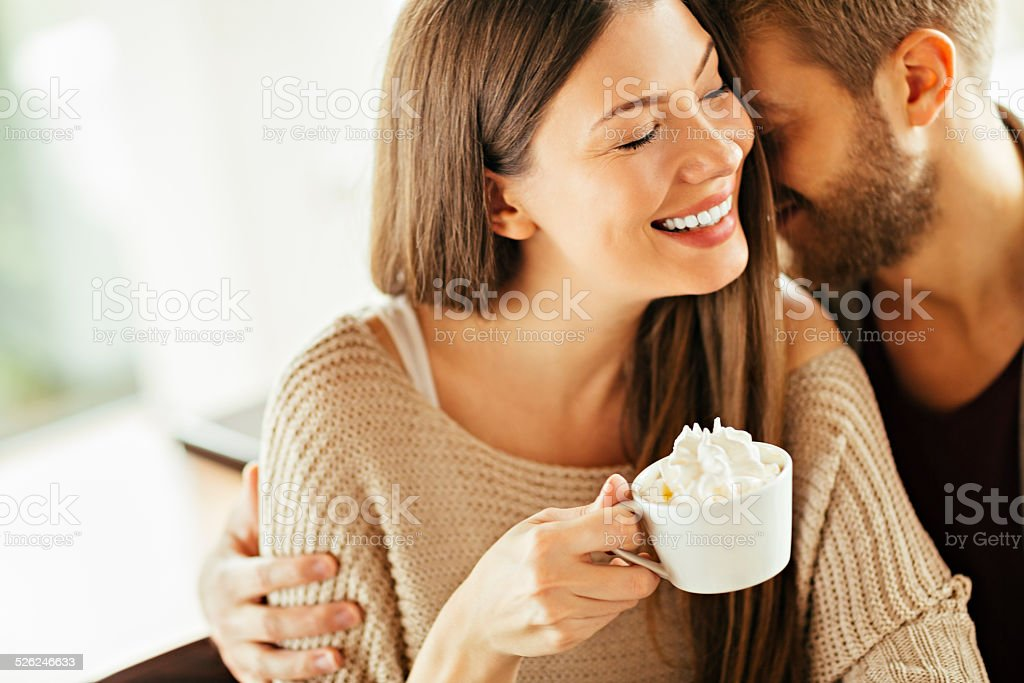 Happy couple in cafe stock photo