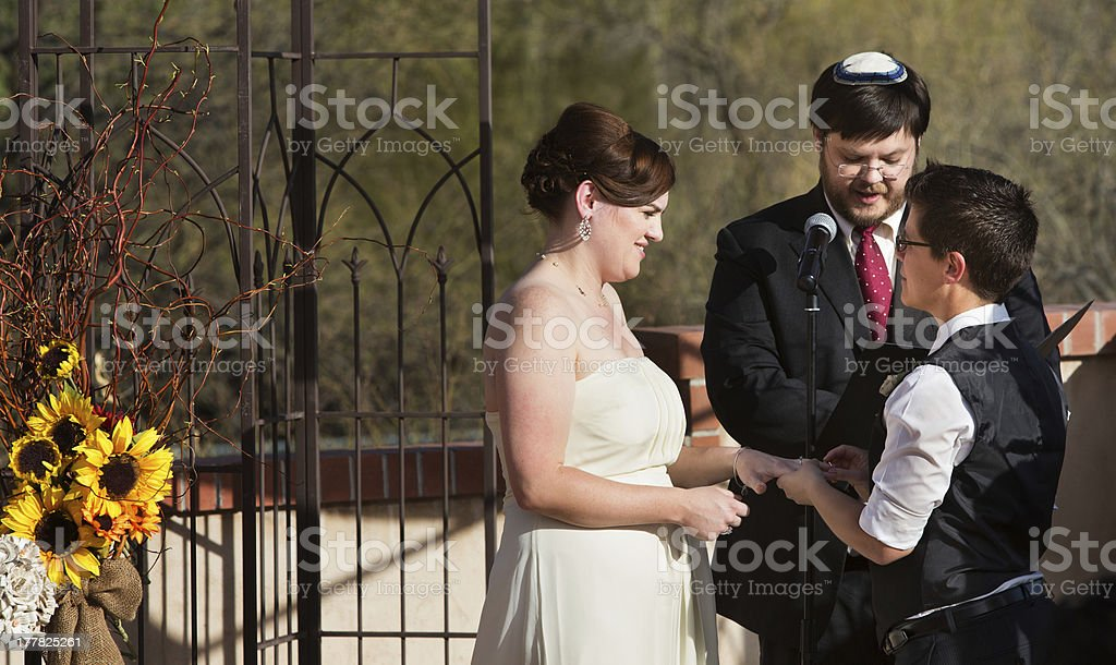 Happy Couple in Civil Union stock photo