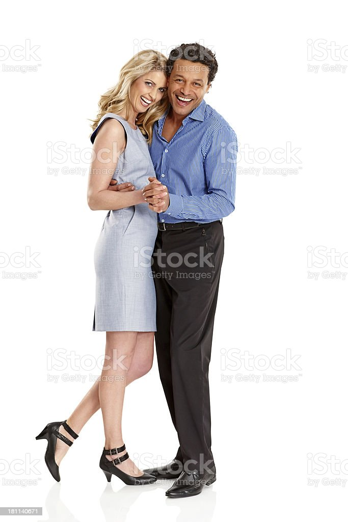 Happy couple in love dancing together on white royalty-free stock photo