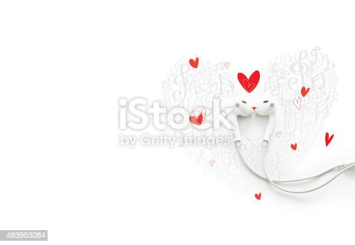 istock happy couple in love with music, painted earphone lovely concept 483953084