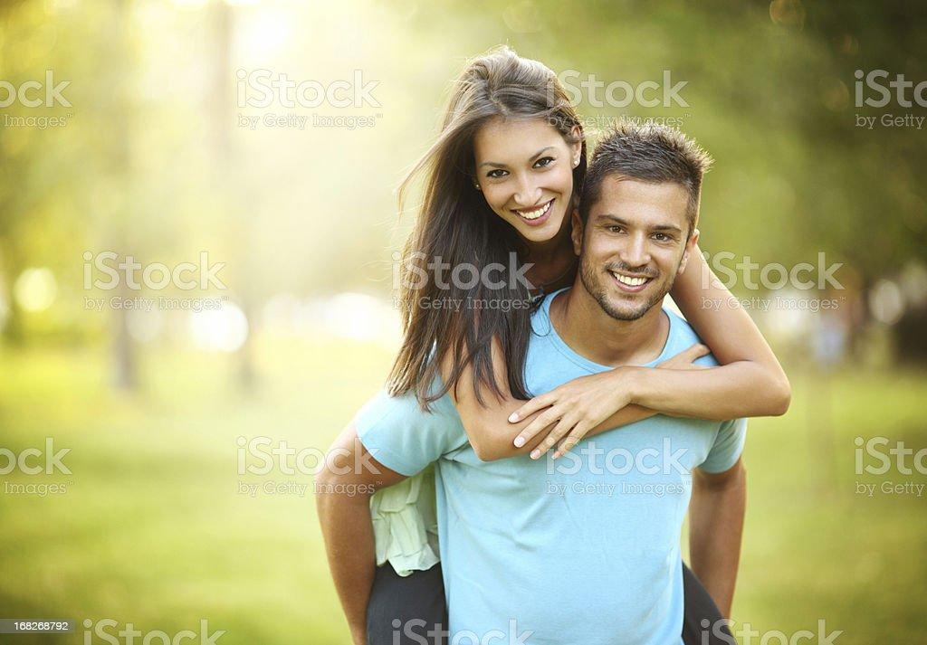 Happy couple in park. stock photo