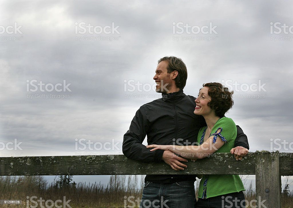Happy Couple in Rural Setting royalty-free stock photo