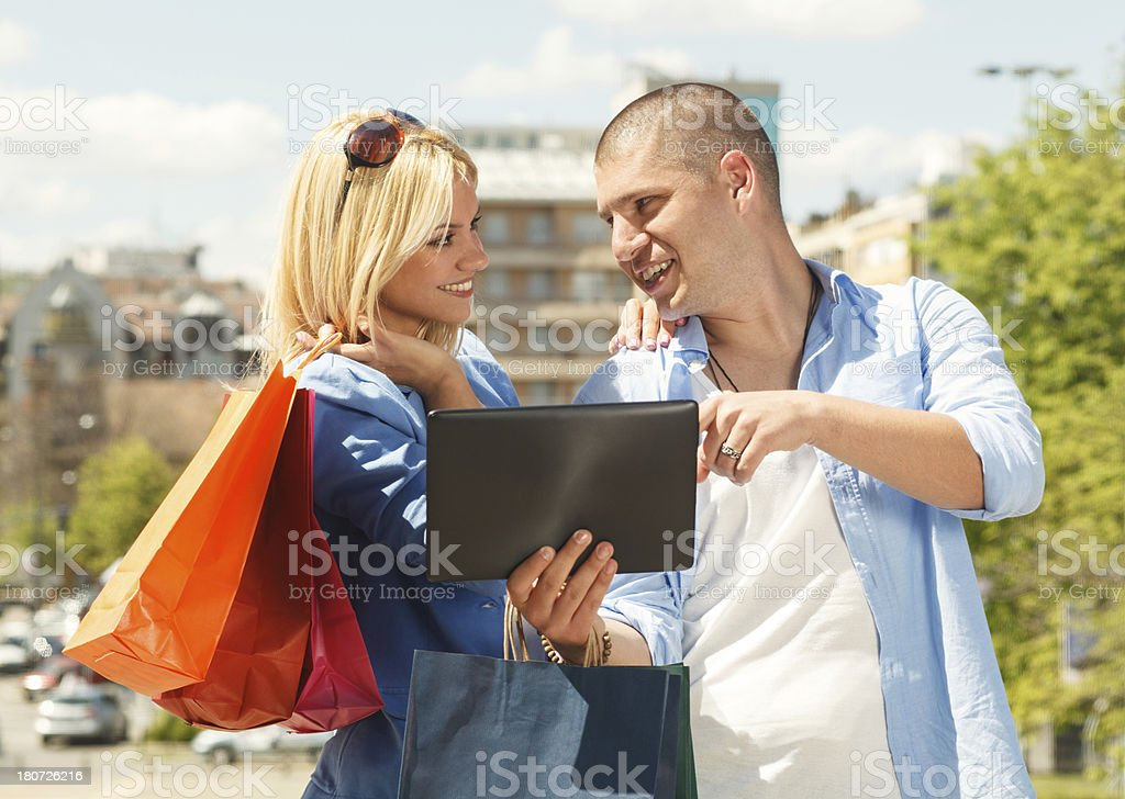 Happy couple in shopping royalty-free stock photo