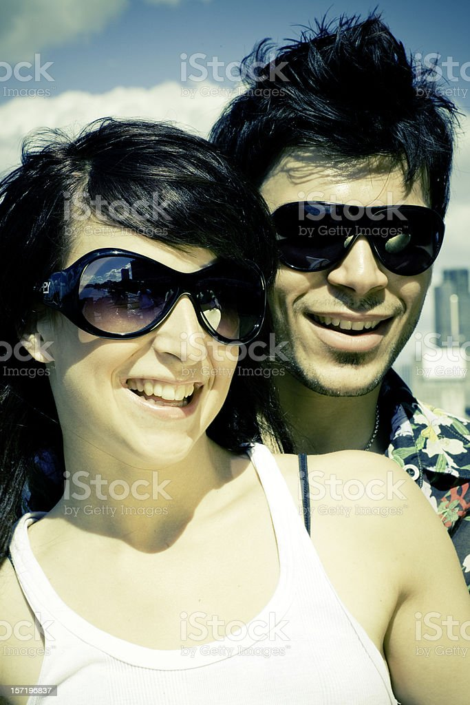 happy couple in summer royalty-free stock photo