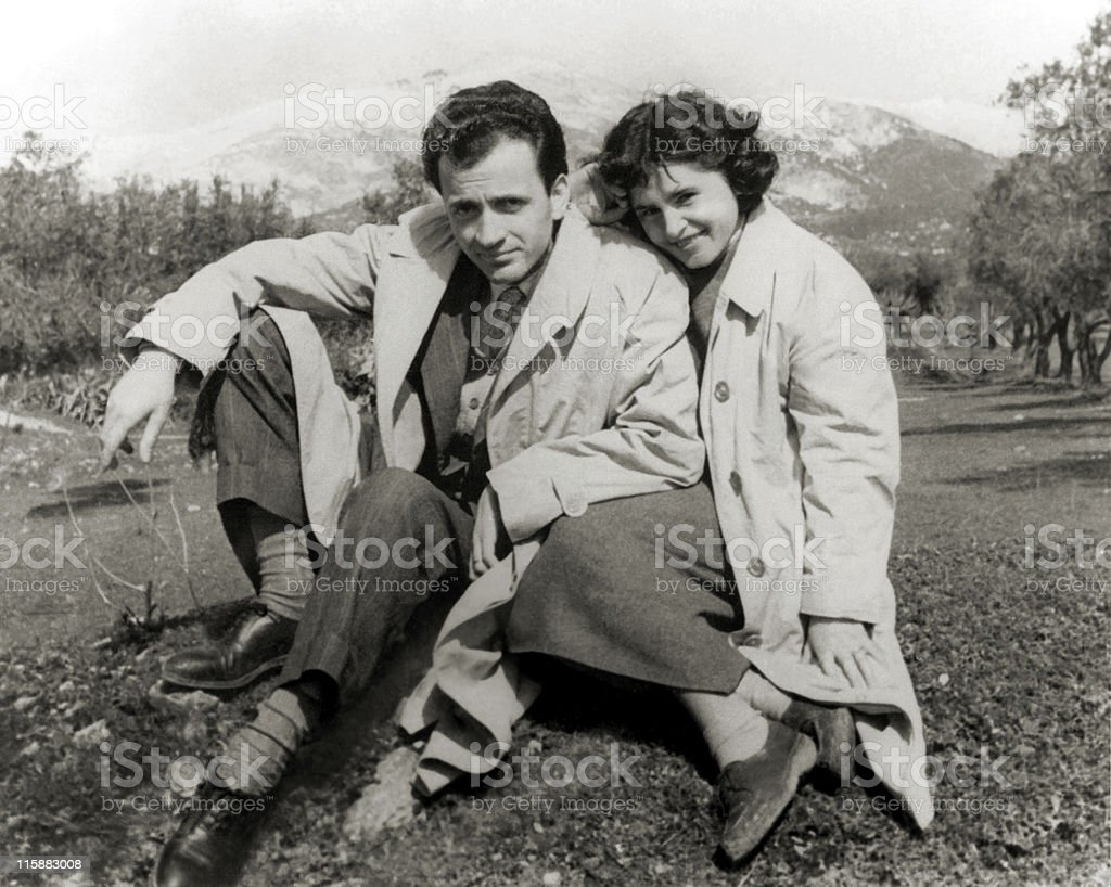 Happy couple in the fifties stock photo