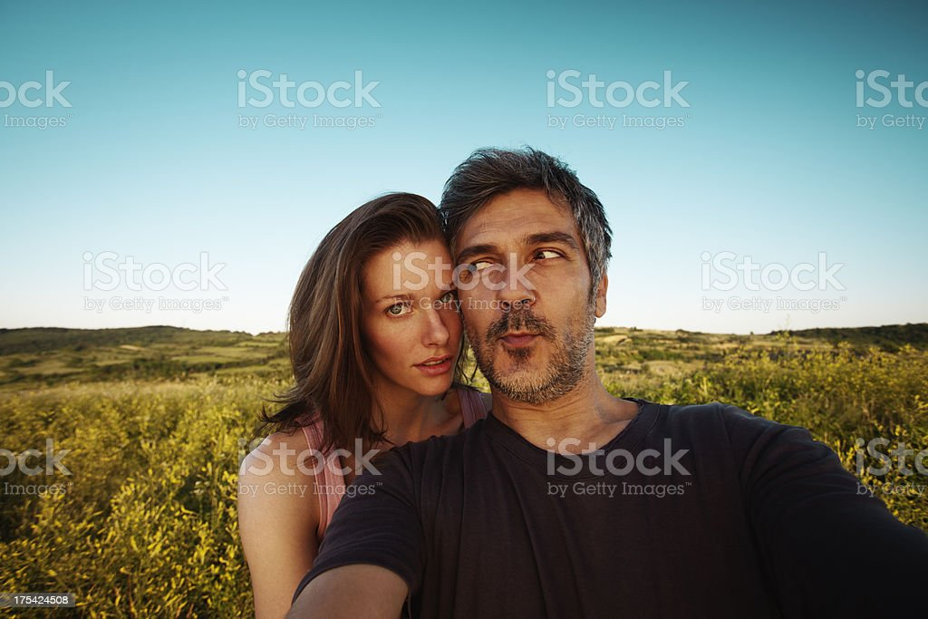Happy couple in the nature stock photo