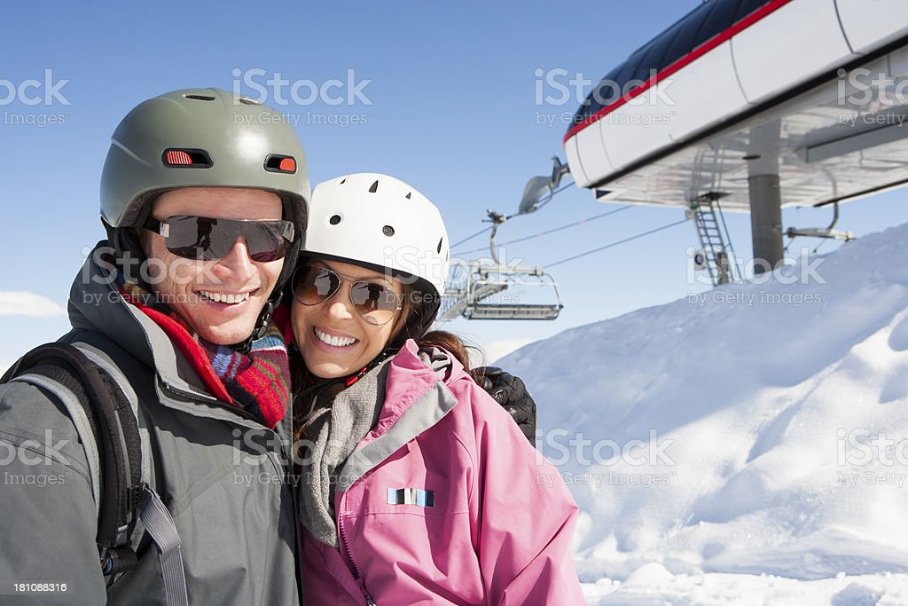 Happy Couple in the Snow royalty-free stock photo