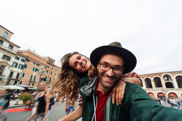 Happy couple in Verona stock photo