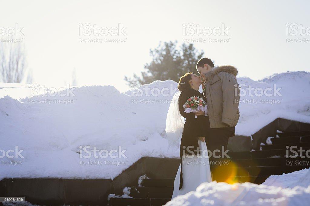 Pareja feliz en invierno día de boda foto de stock libre de derechos