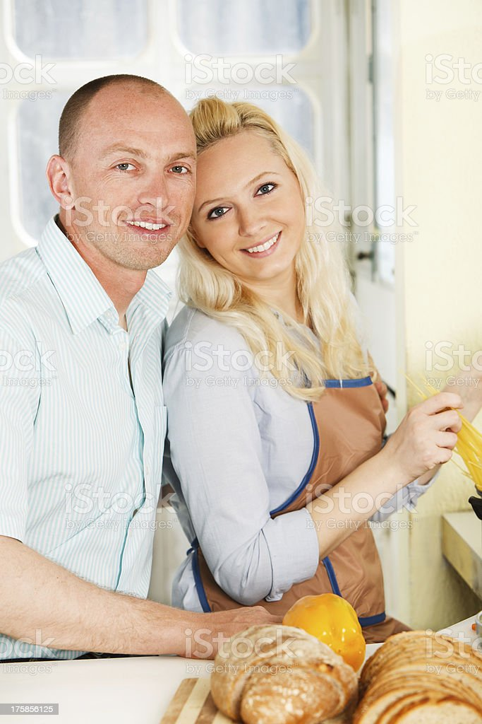 Happy Couple is cooking royalty-free stock photo