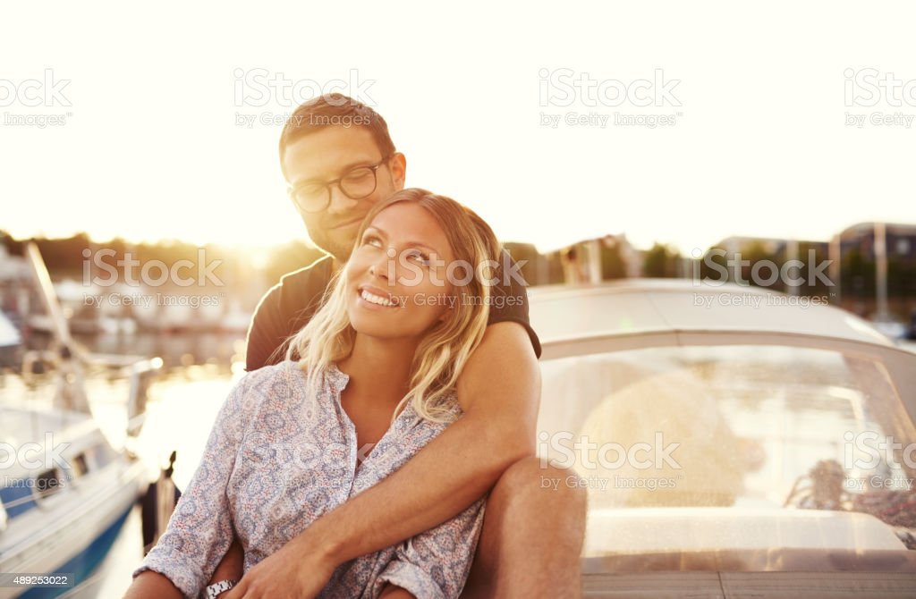 Happy Couple On a Boat stock photo