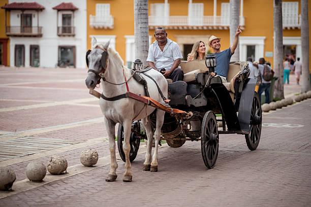 happy couple on a tour riding on a carriage - pferdekutsche stock-fotos und bilder