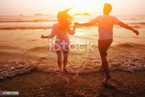 honeymoon, silhouette of couple on the beach, dream vacations