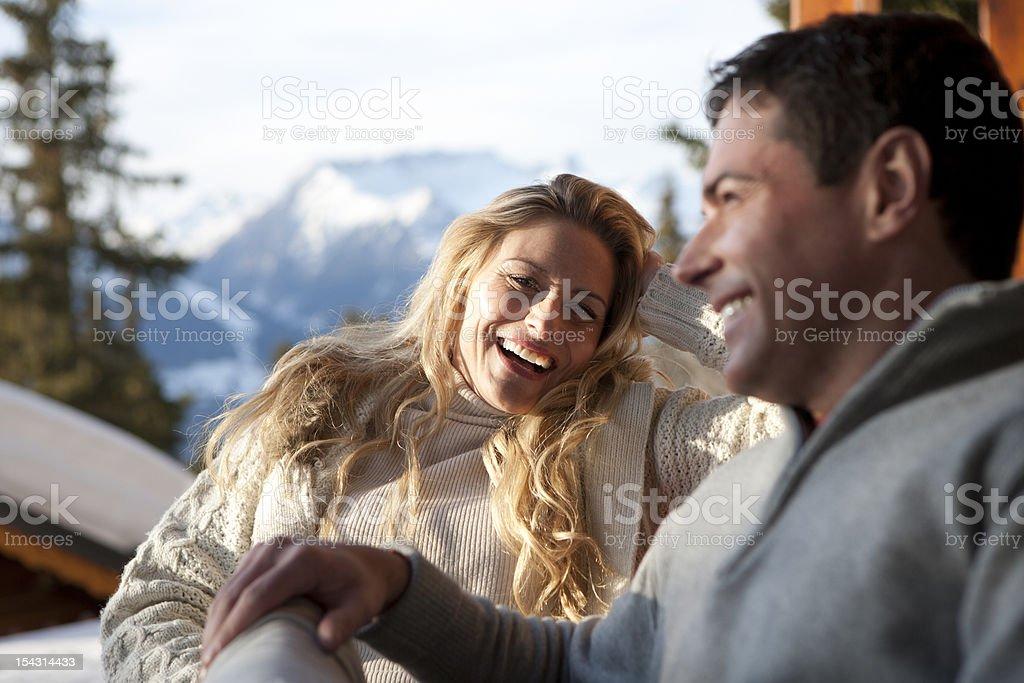 Happy Couple On The Piste royalty-free stock photo