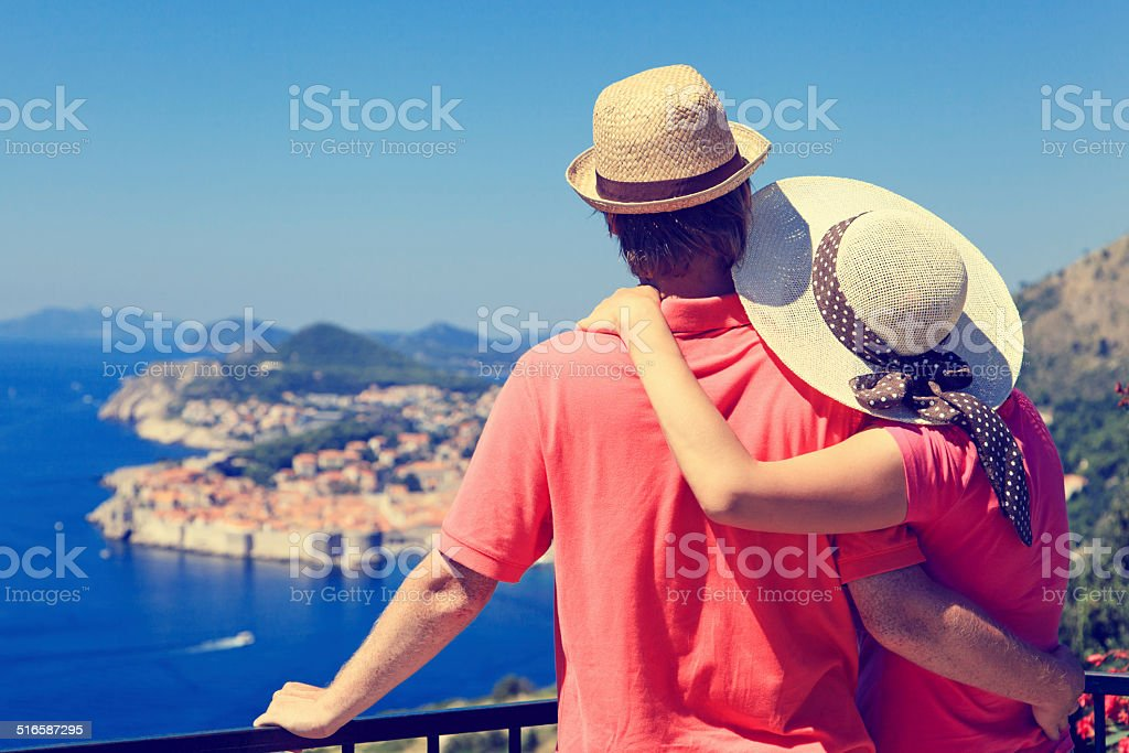 happy couple on vacation in Europe stock photo