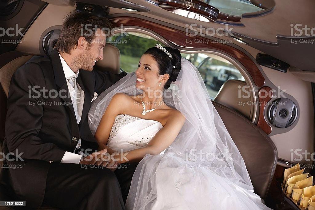 Happy couple on wedding-day royalty-free stock photo