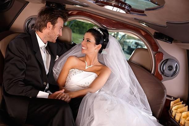 Happy couple on wedding-day stock photo