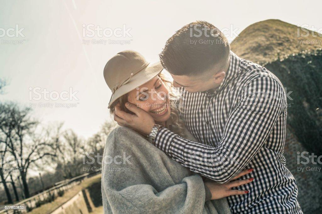Happy couple outdoor. royalty-free stock photo