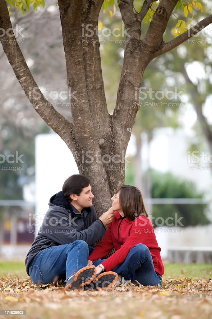 happy couple outdoors royalty-free stock photo