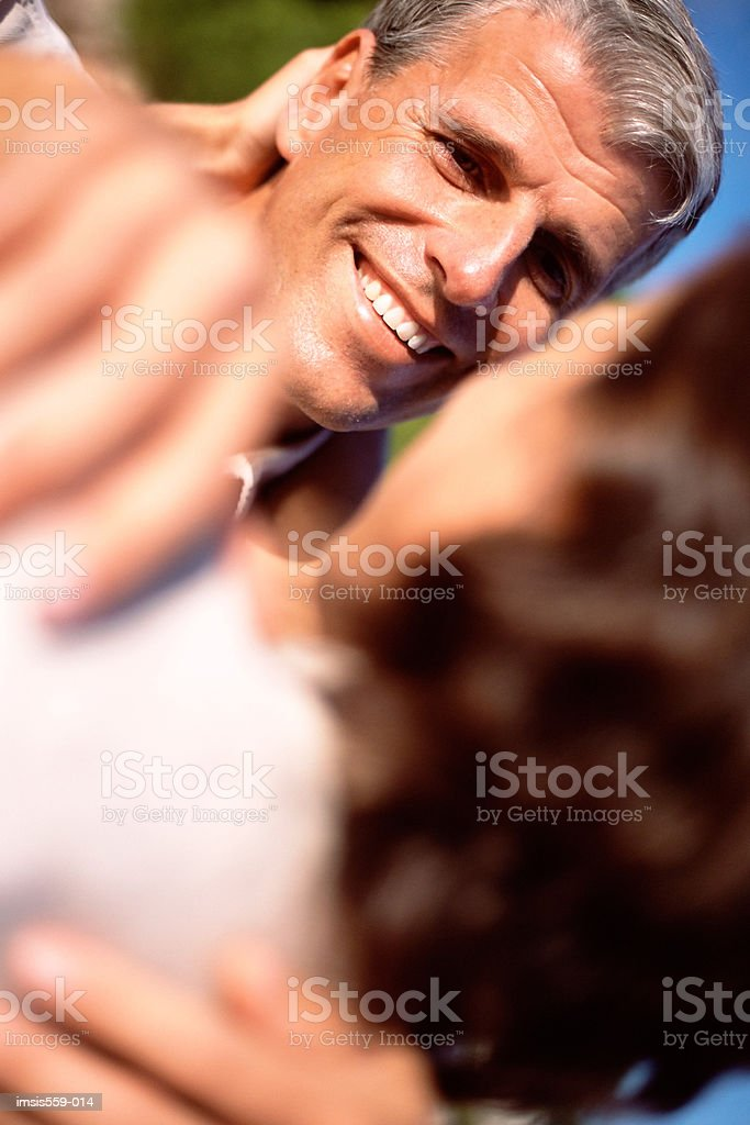 Happy couple outdoors royalty free stockfoto