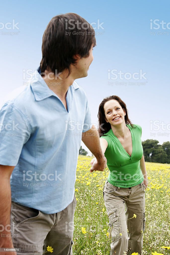 happy couple outside royalty-free stock photo