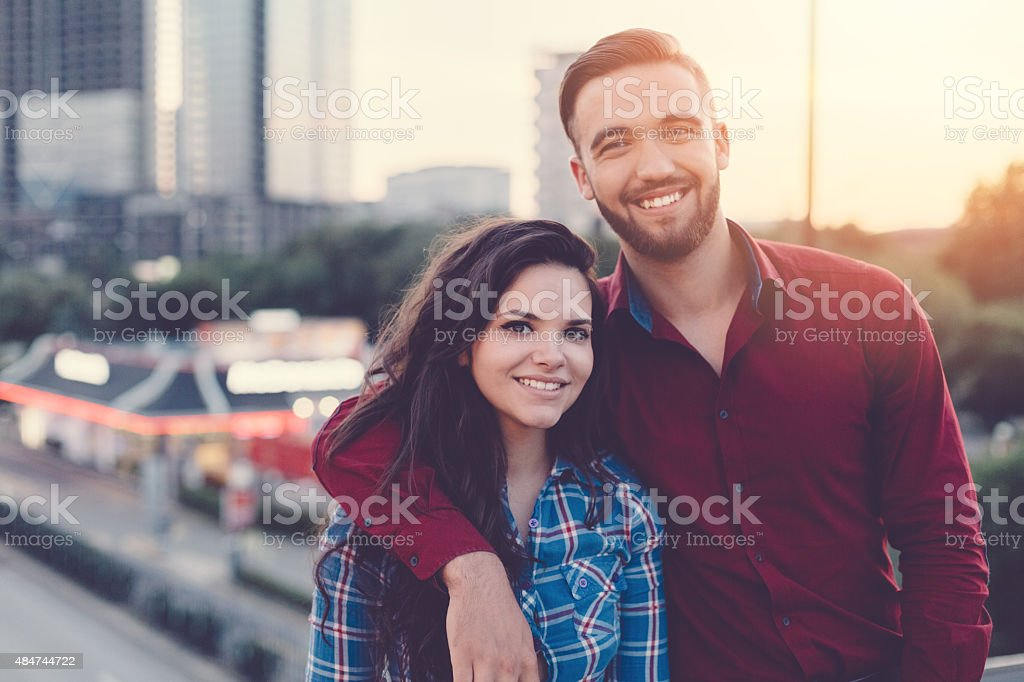 Happy couple portrait in the city stock photo