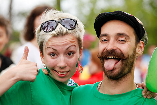 Happy couple portrait (Saint Patrick's Day) stock photo