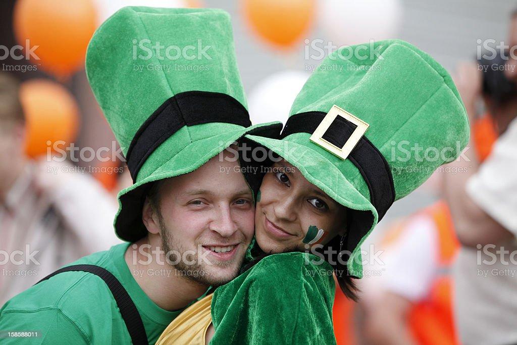 Happy couple portrait (Saint Patrick's Day) stock photo